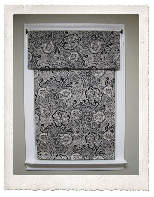 easy, no sew Roman shade with valence made from mini blind, Waverly fabric Paddock shawl