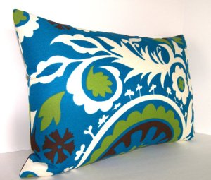 Lime Brown Blue Ivory Outdoor Pillow by Loubella1 at Etsy