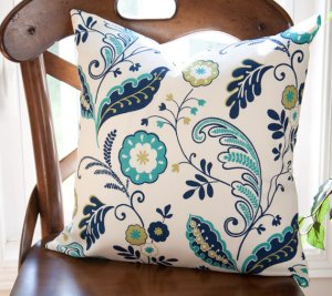 Blue Lime Green Cream Outdoor Pillow by PiccoloInteriors at Etsy